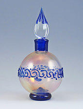 Blue on Pink Perfume by Chris Pantos (Art Glass Perfume Bottle)