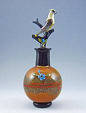 Cedar Waxwing Perfume Bottle by Chris Pantos (Art Glass Perfume Bottle)