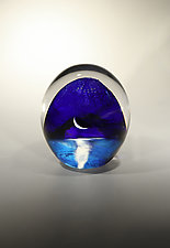 Oceanscape with Crescent Moon by Robert Burch (Art Glass Paperweight)