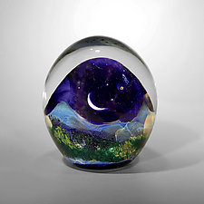 Mountainscape with Crescent Moon by Robert Burch (Art Glass Paperweight)