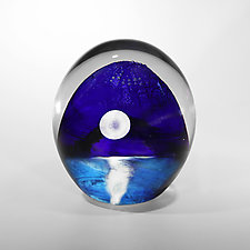 Oceanscape with Full Moon by Robert Burch (Art Glass Paperweight)