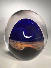 Sunrise Landscape by Robert Burch (Art Glass Paperweight)