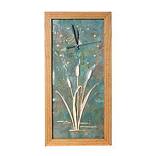 Dragonfly and Cattails Tall Box Clock by Desmond Suarez (Wood Clock)