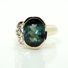 Green Tourmaline Ring with Diamonds by Ana Cavalheiro (Gold & Stone Ring)