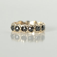 Black Rose-Cut Diamond Band by Ana Cavalheiro (Gold & Stone Ring)