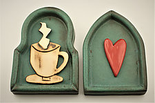 For the Love of Coffee by Cathy Broski (Ceramic Wall Sculpture)