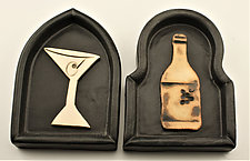 Martini/Wine by Cathy Broski (Ceramic Wall Sculpture)