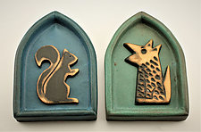 Squirrel/Dog by Cathy Broski (Ceramic Wall Sculpture)