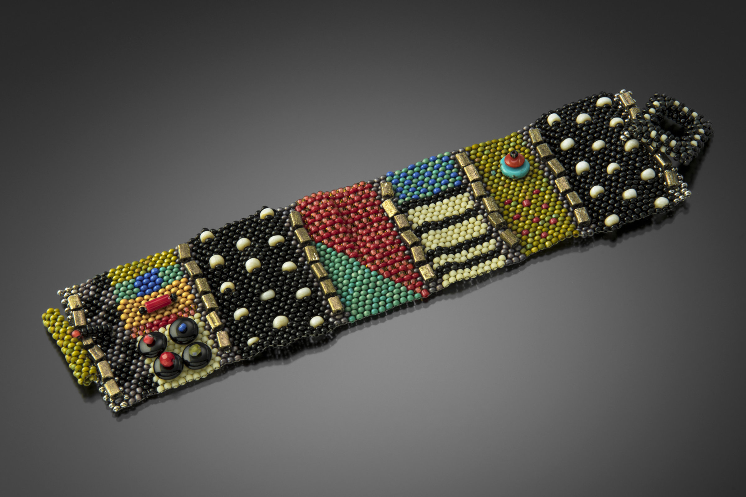 Mixy Cuff Black With Brights By Julie Powell Beaded