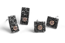 Woven Stud Earrings by Linda Bernasconi (Silver & Stone Earrings)
