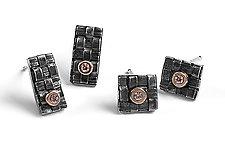 Woven Stud Earrings by Linda Bernasconi (Silver & Stone Earrings)