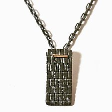 Men's Woven Tag Necklace by Linda Bernasconi (Silver Necklace)