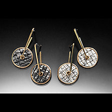 Woven Rivet Earrings by Linda Bernasconi (Gold & Silver Earrings)