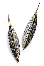 Pointed Leaf Earrings by Linda Bernasconi (Gold & Silver Earrings)
