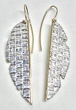 Split Banana Leaf Earrings by Linda Bernasconi (Gold & Silver Earrings)