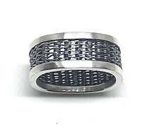 Men's Herringbone Woven Square Ring by Linda Bernasconi (Silver Ring)