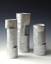 Hinged Series Group in Silver by Lenore Lampi (Ceramic Vase)