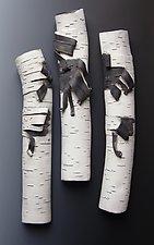 Trio of Birch Singles by Lenore Lampi (Ceramic Wall Sculpture)