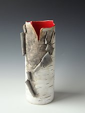 Vase Red Interior by Lenore Lampi (Ceramic Vase)