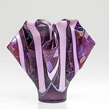 Pink Sculpture by Varda Avnisan (Art Glass Sculpture)