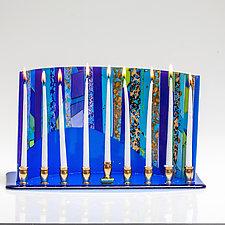 Blue Arc Menorah by Varda Avnisan (Art Glass Menorah)