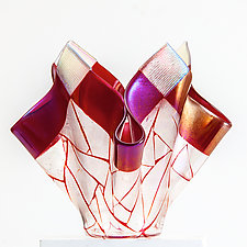 Geometry in Red Vessel by Varda Avnisan (Art Glass Vessel)