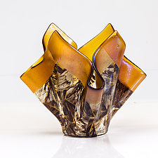 Vessel in Brown and Gold by Varda Avnisan (Art Glass Vessel)