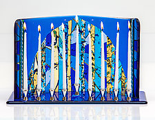 Jerusalem Gate Menorah by Varda Avnisan (Art Glass Menorah)
