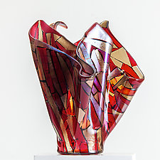 Flowering Red Vessel by Varda Avnisan (Art Glass Vessel)