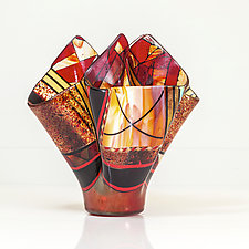 Celebration in Red Vessel by Varda Avnisan (Art Glass Vessel)