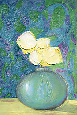 Blue Vase on Textiles by Denise Souza Finney (Acrylic Painting)