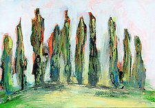 Italian Cypress Trees by Denise Souza Finney (Acrylic Painting)