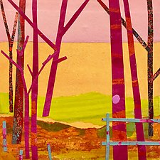 Winter Trees III by Suzanne Siegel (Mixed-Media Painting)