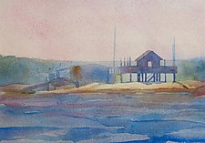 Thimble Island in Fog II by Suzanne Siegel (Watercolor Painting)