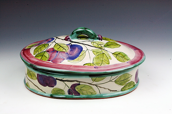 Plum Oval Serving Dish with Lid