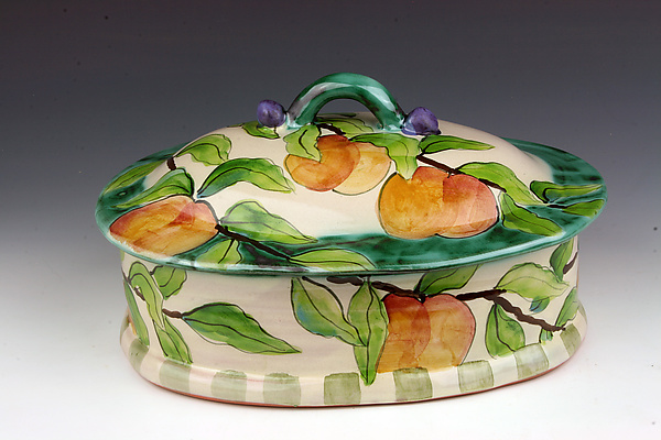 Peach Orchard Oval Serving Dish