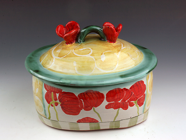 Poppies Oval Serving Dish with Lid