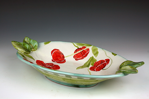 Poppy Oval Bowl with Leaves