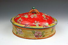 Oval Small Serving Dish with Lid by Peggy Crago (Ceramic Casserole)