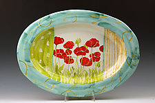 Oval Platter with Poppies by Peggy Crago (Ceramic Platter)