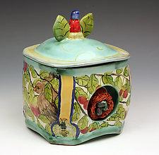 Bird and Nest Square Jar by Peggy Crago (Ceramic Jar)