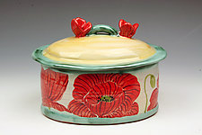 Red Poppy Box by Peggy Crago (Ceramic Box)