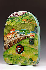 Village in the Foothills by Peggy Crago (Ceramic Wall Sculpture)