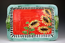 Large Sunflowers Tray by Peggy Crago (Ceramic Tray)