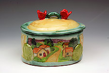Pastoral Oval Box by Peggy Crago (Ceramic Box)