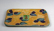 BlackberryBee Small Tray by Peggy Crago (Ceramic Tray)