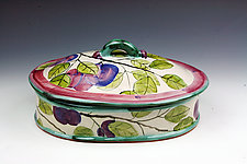 Plum Oval Serving Dish with Lid by Peggy Crago (Ceramic Casserole)