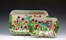 Sweetpea and Dragonfly Trays by Peggy Crago (Ceramic Tray)