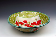Poppies Salad Bowl 2 by Peggy Crago (Ceramic Bowl)
