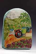 Garden Arch Tile with Key and Nest by Peggy Crago (Ceramic Wall Sculpture)